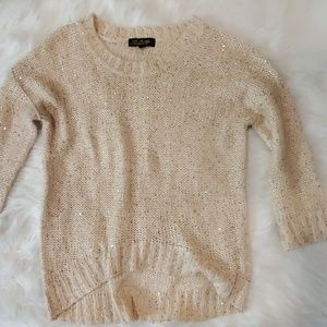 Gold sparkly high low sweater